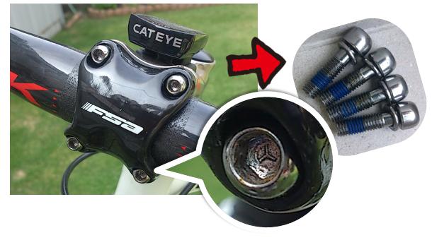 市販品では、こんな頭部形状のネジはないため、「キャップボルト」 に交換! ノギスを使用してサイズ